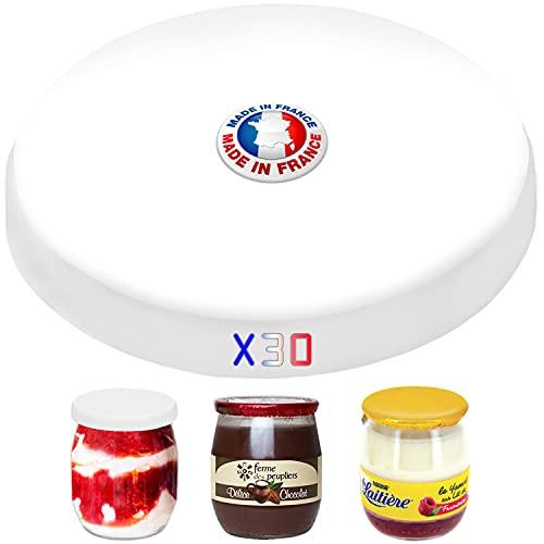 30 couvercles pots à yaourt compatible la laitière avec les bocaux en verre du commerce-Bouchons alimentaire fabriqué sans BPA-Capsules fabriqué en France-Respect des normes alimentaires