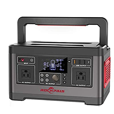 ROCKPALS 500W Portable Power Station, 520Wh CPAP Backup Lithium Battery Pack Camping Powered Generator with 110V AC Outlet, QC 3.0 USB, Type-C Port for Outdoor Camping, Home Emergency UPS Power Supply