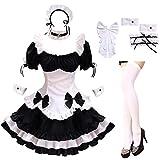 GRAJTCIN Womens Anime Maid Cosplay Outfit Lolita Dress Halloween Costume Chocolates Japanese with Socks(Large, White)