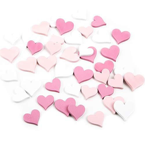 Logbuch-Verlag 72 kleine platte mini-harten roze roze wit natuurlijk hout strooidecoratie strooidecoratie bruiloft decoratie tafeldecoratie om te strooien verjaardag meisjes