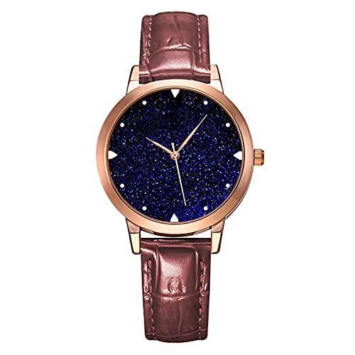 TREWQ Reloj de Mujer Acero Inoxidable Impermeable Analogico Cuarzo Reloj Regalo Cumpleaños Mujer,Marrón