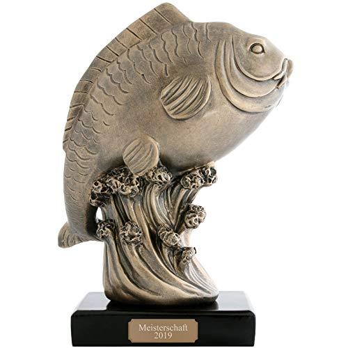 pokalspezialist Pokal Figur Trohpäe Karpfen Angler Fische handbemalt mit Sockel 1,3 kg extra groß mit Gravur