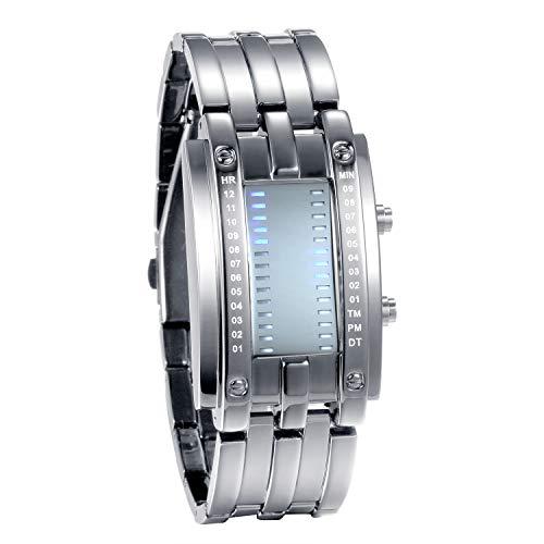 JewelryWe Paar Uhren Digitaluhr Silber Edelstahl Binäre Uhr Rechteck Bezel LED Sportuhr Blau LED Licht Kalender Mode Cool Partner Armbanduhr für Herren