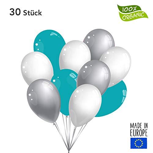 30 Premium Luftballons in Silber/Weiß/Türkis - Made in EU - 100% Naturlatex somit 100% giftfrei und 100% biologisch abbaubar - Hochzeit Silvester Karneval - für Helium geeignet - twist4®
