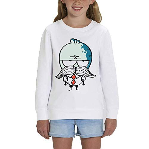 LookMyKase Sweat - Manche Longue - Col Rond - Mustache - Fille - Blanc - 5-6ans