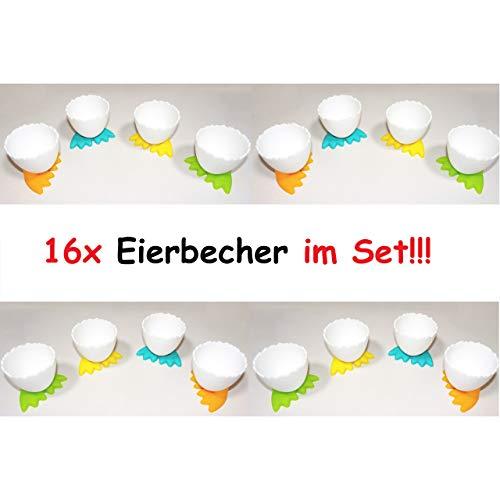 16x lustige Eierbecher mit Füßen Ei Kunststoff Frühstücksei Chicken Egg Cups
