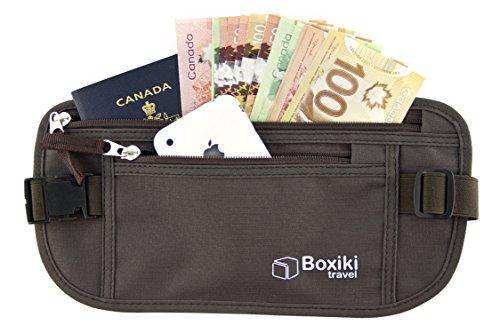 Ceinture Porte-monnaie Ceinture de Sécurité RFID Sac de Taille Sécurisé,pour Hommes et Femmes de Boxiki Travel.S'adapte passeport,au portefeuille,au téléphone et aux objets personnels(marr