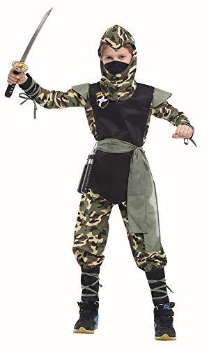 TIMSOPHIA Ninja Kostüm Samurai Krieger Outfit Soldat Verkleidung Schwarz Cosplay Party Spaß Fancy Halloween Festival für Kinder Jungen 110-140CM Gr. 90, camouflage