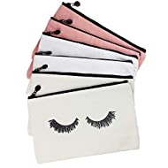 Eyelash Makeup Bags, 6 Pieces Canvas Makeup Bags Travel Make up Pouches with Zipper Lash Cosmetic Bags for Women and Girls (mix-6pack)