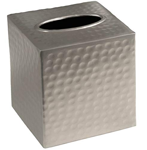 Monarch Abode Pewter Monarch Hand Hammered Metal Tissue Box Cover