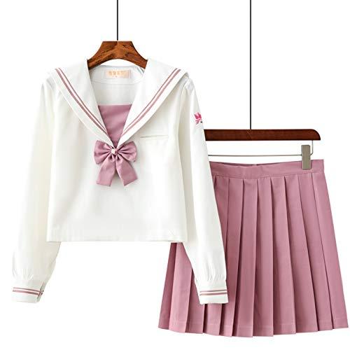 Uniforme Escolar de Japón Traje de Marinero Disfraz de Colegiala Japonesa, Traje de Cosplay de Uniforme JK para Mujeres Niñas, Top de Manga Larga + Falda (L)