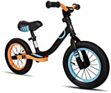 KOOKIDO Softail Sporty Balance Bike with Air Tires, Kids Bike with Rear Suspension, 12 inch Bike Without Pedal, Bike for Kids Ages 3-6 (Black & Orange)