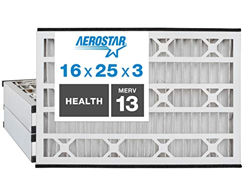 Aerostar Home Max 16x25x3 MERV 13 Air Bear Replacement Pleated Air Filter, Made in the USA, 3-Pack
