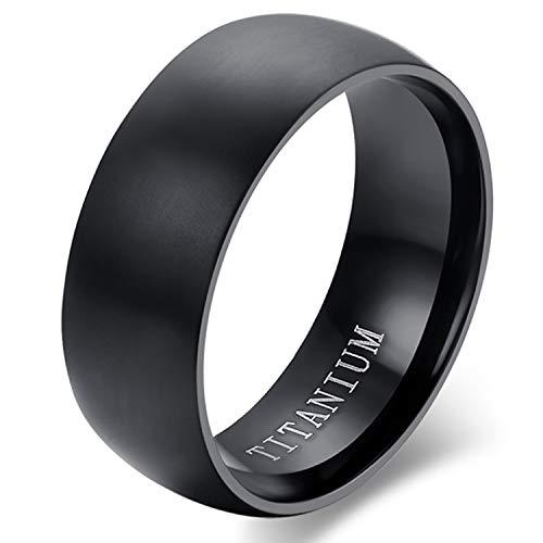 Cupimatch - Anillo de compromiso de titanio para hombre, con pulido negro, tamaño a elegir