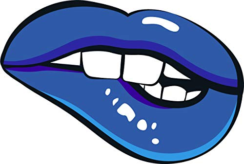 Cool Sexy Plump Big Blue Lips Comic Book Style Design Cartoon Vinyl Sticker (8' Wide, Lip Biting)