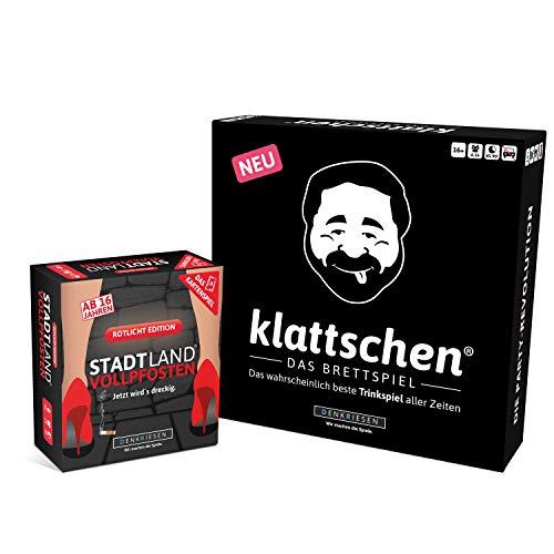 DENKRIESEN - Party Pack 2 - SLV-Kartenspiel ROTLICHT Edition & klattschen BRETTSPIEL - das wahrscheinlich Beste Party Pack Aller Zeiten