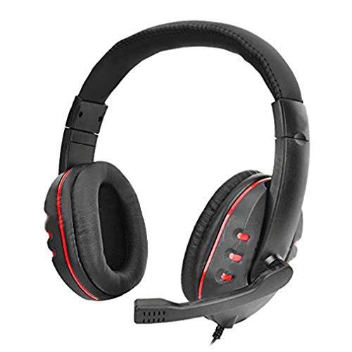 HehiFRlark - Casco de lujo para auriculares en línea Ps4, auriculares de juego de lujo con micrófono antirruido, color rojo