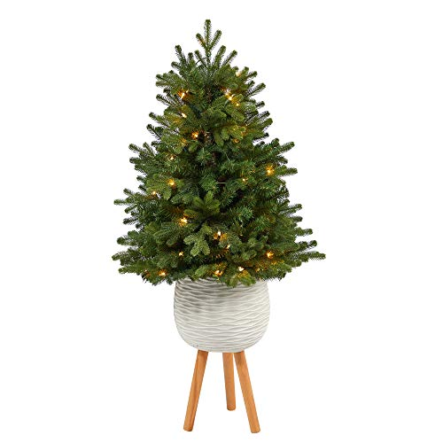 Unknown1 4' Artificial Christmas Tree with 50 Lights in White Planter Green Clear