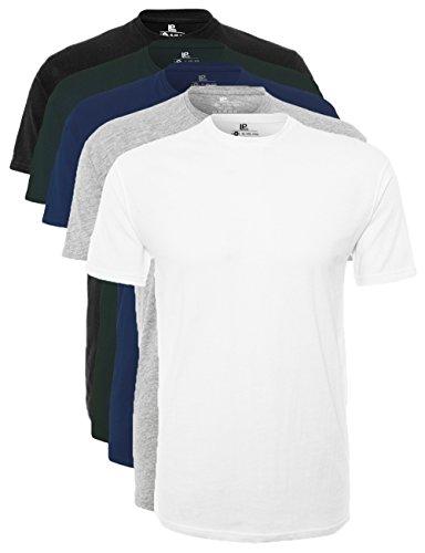 Lower East Herren T-Shirt mit Rundhalsausschnitt, Mehrfarbig (Weiß/Schwarz/LT Grau Mel./Dunkelblau/Grün), Large, 5er Pack