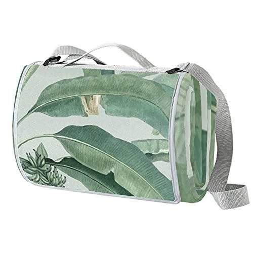 Ameolone Manta de picnic grande con hojas tropicales verdes, resistente al agua, práctica esterilla ideal para la playa y acampar en la hierba, primavera y verano