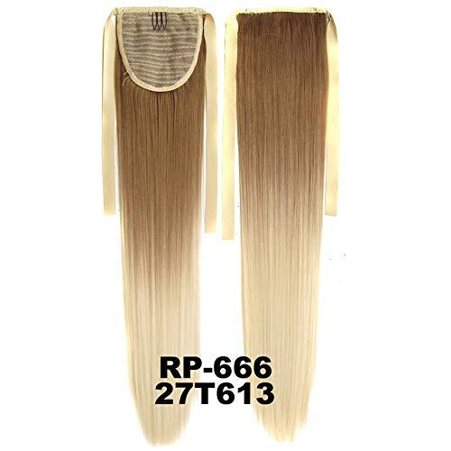 Haute qualité Arc en Ciel Cheveux raides Ombre Couleur 22inch 55cm 90g Ruban Ponytail Extensions de Cheveux synthétiques Noir Rose Naturel Ponytails Simple et généreux