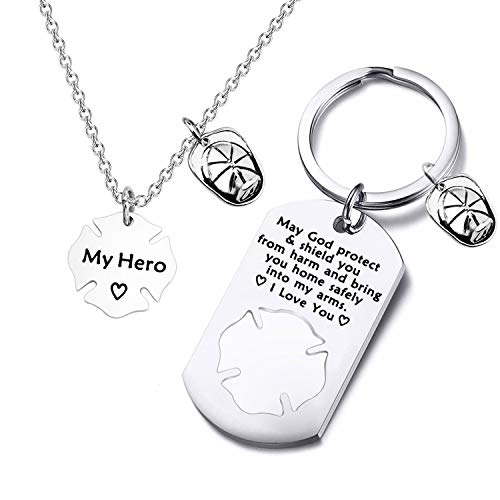 FUSTMW Firefighter Gift Keychain Necklace Matching Set Fireman Jewelry Gift for Firefighter Wife, Girlfriend, Mom, Daughter May God Protect You from Harm (Silver)