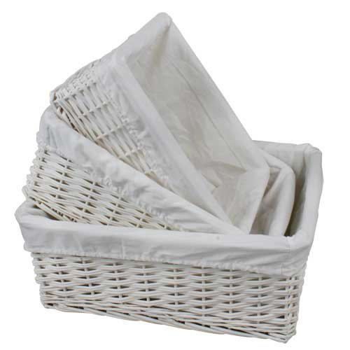 Woodluv Set of 3 White willow wicker Hamper Storage toy Baskets