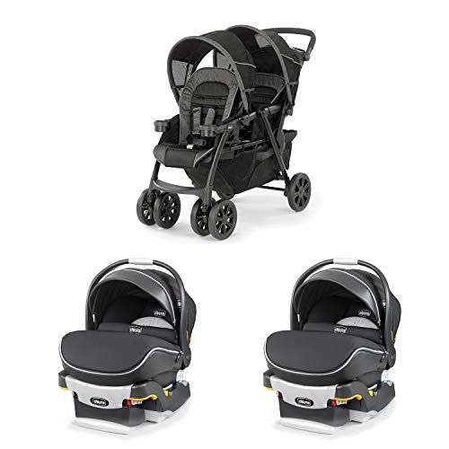 Chicco Together Double Stroller and Rear Facing Car Seat with Frame (2 Pack)