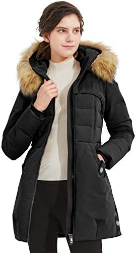 Orolay Women s Light Down Jacket Fur Trim Hooded Winter Coat Stand Collar Parka Jet black XL product image