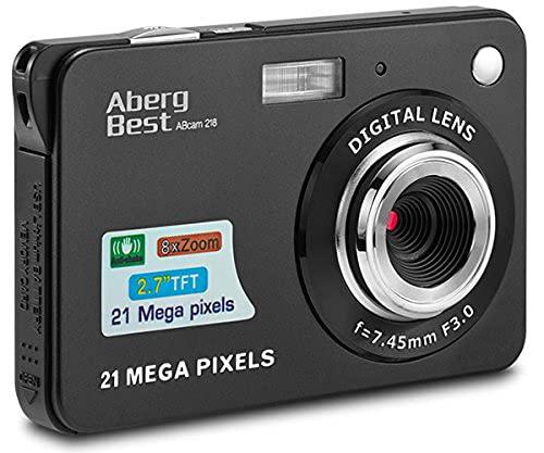 Compactas Cámaras Digitales AbergBest 2.7 LCD Recargable HD Cámara Digital para Estudiantes, niños, Adultos Interior y Exterior (Negro)