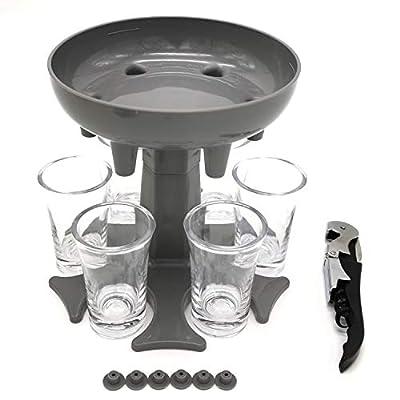 FeizLink 6 Shot Glass Dispenser Holder, Dispenser For Filling Liquids for Drinking Games/Bar/Home Party Use, Fit Wine/Beer/Cocktail/Juice