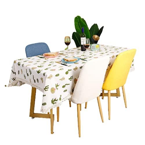 Tovaglia Rettangolare in Poliestere per Uso Domestico Verde Cactus Modello Quadrato Tovaglia Hotel Tavolino Tovaglia Adatto per Soggiorno Decorazione Cucina Giardino Esterno 140x140cm