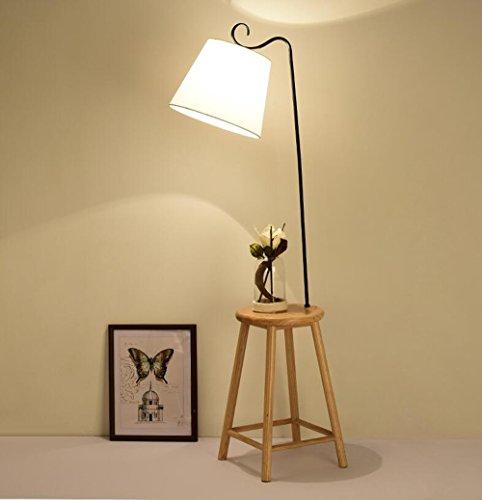 Lampadaire de salon Lampadaire de chambre à coucher en bois Lampadaires Nordic Vertical (Couleur : Blanc)