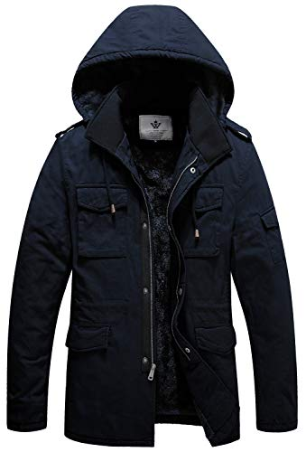 WenVen Men's Business Casual Cotton Canvas Military Jacket with Hood Navy M
