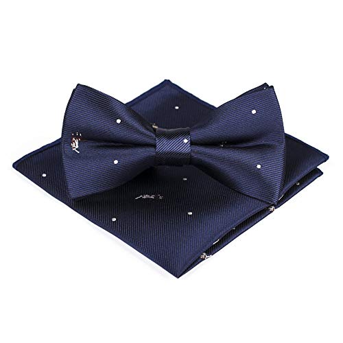 Juego de toallas de bolsillo con pajarita para hombre, jacquard azul, para...