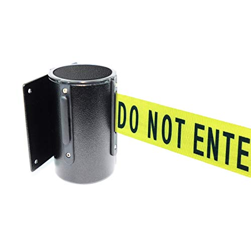 Retractable Safety Wall Queue Barrier With Tuff Tex Black Finished (120