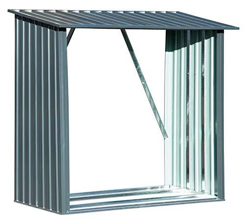 Gartenpirat Kaminholzregal aus Metall verzinkt für 1,5 m³ Holz Brennholz Regal Unterstand