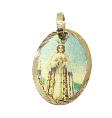 Diamantados of Florida Virgen del Valle Medalla Venezuela-Nuestra Señora de la Medalla de Valle Medalla de 14K Chapado en Oro, con 18Pulgadas Cadena