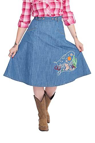 Queen Kerosin Western Falda, Azul, M para Mujer