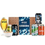 Beery Gift Hamper Selection Box by Beer Hawk, Craft Beer Gift Set with 5 Craft Beer Cans,1 Tasting Glass and 1 Delicious Snack