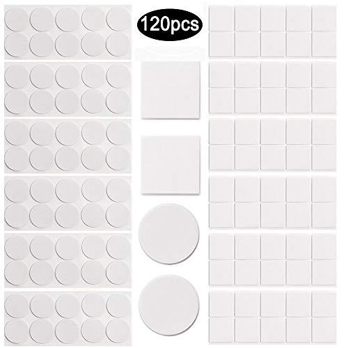 Doppelseitige Schaumstoff-Pads, 120 Stück Doppelseitiges Klebeband Extra Stark Schwarz Klebeband Quadratisch und Rund