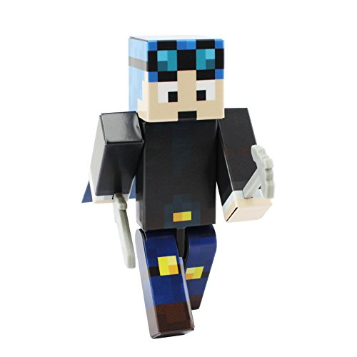 EnderToys Blue Hair Miner Boy Action Figure Toy, 4 Inch Custom Series Figurines