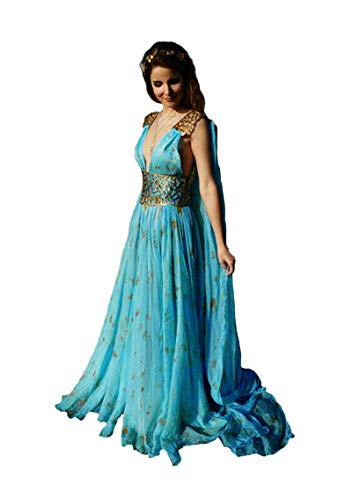 Binwwe Disfraz largo de Daenerys Targaryen para mujer, color azul, para disfraz de dama, fiesta de Halloween