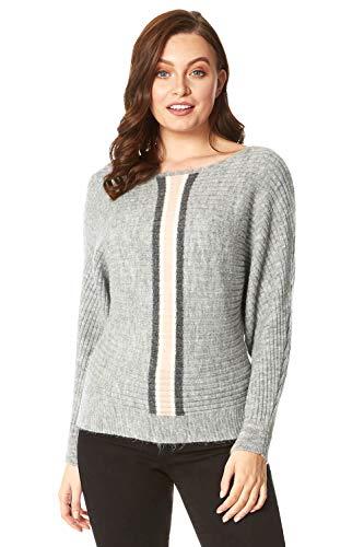 Roman Originals gebreide trui voor dames met vleermuismouwen en contrasterende strepen, casual, elegante gebreide modellen met lange mouwen, ronde hals, oversize, warm, herfst winter.