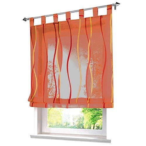 ESLIR Raffrollo mit Schlaufen Gardinen Küche Raffgardinen Modern Schlaufengardinen Vorhänge Transparent Voile Orange BxH 120x140cm 1 Stück