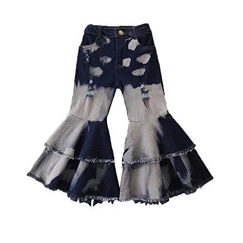 Niño bebé Chicas Bellas de Campana Ruffle Flare Vintage Jeans Pantalones Flacos Pantalones de Mezclilla Romada Pantalones (Color : Blue A, Size : 2-3Years)