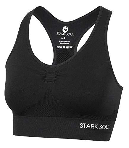 STARK SOUL Bra Light Support - Sport BH doppellagig für Damen - schwarz - Größe L