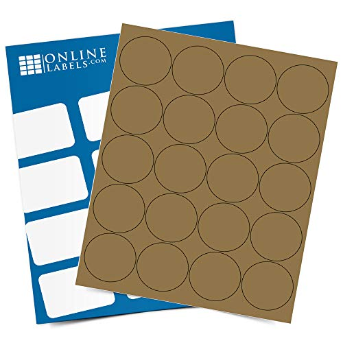 2 Inch Brown Kraft Round Labels - Pack of 2,000 Circle Stickers, 100 Sheets - Inkjet/Laser Printer - Online Labels - Candle Labels