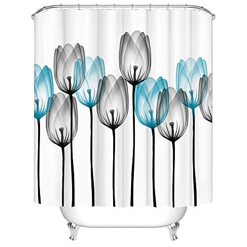 Duschvorhang aus Stoff, schöne Tulpenmotiv, blau-grau, durchsichtige Blumen, Badezimmervorhänge mit 12 Haken, 183 x 183 cm