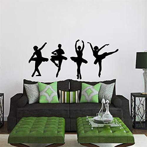 56x123cm Ballerina Wall Decals Dancer 4 Girls Ballerinas Dance Ballet Studio Sport Home Vinyl Decal Sticker Kids Nursery Baby Room